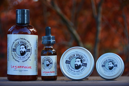 Kit: Beard balm, beard oil, beard & body wash, and mustache wax