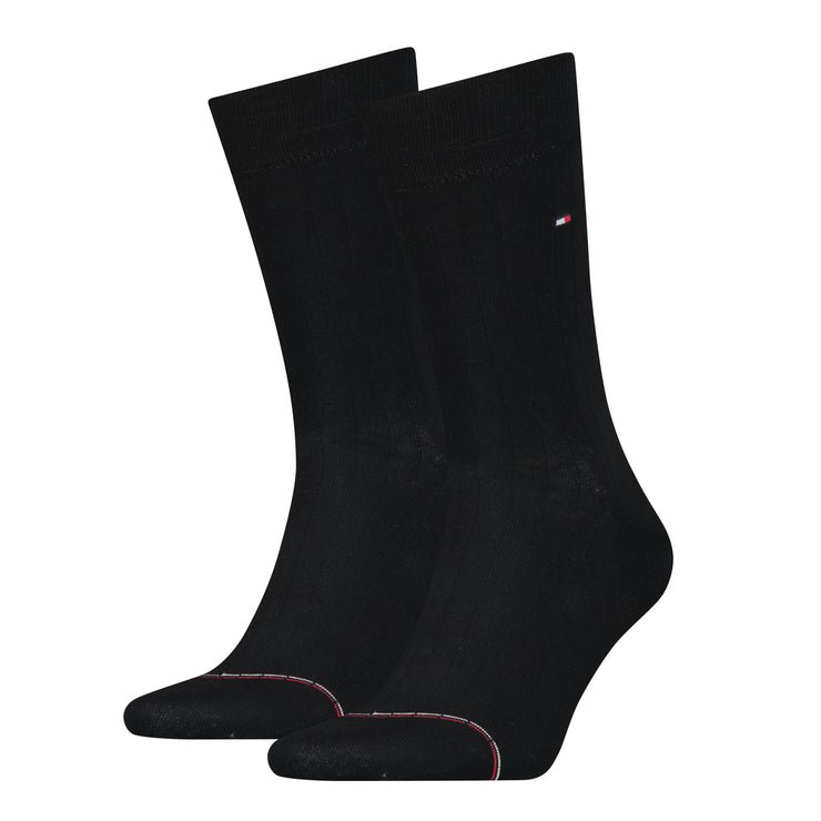 Tommy Hilfiger 2-Pack Rib-Knit Signature Tape Sock Black