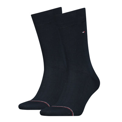 Tommy Hilfiger 2-Pack Rib-Knit Signature Tape Sock Navy