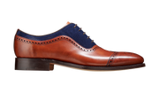 Barker Nicholas Antique Rosewood / Navy Suede Brogue Shoe