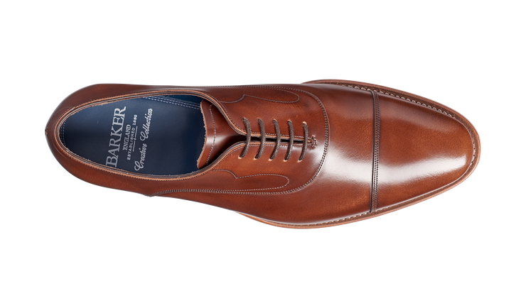 Barker Hartley Cedar Hi-Shine Oxford Toe Cap Shoe