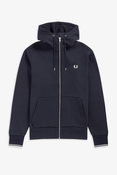 Fred Perry Hooded Zip Through Sweatshirt Hoody Navy