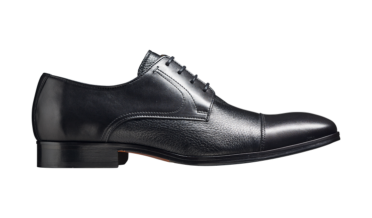 Barker Southwold Black Calf / Deerskin Toe Cap Derby Shoe