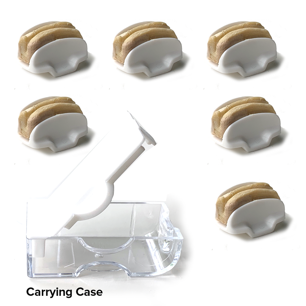 Six Headache Tamers™ with carrying case included