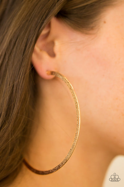 Size Them Up Paparazzi Earrings-Gold