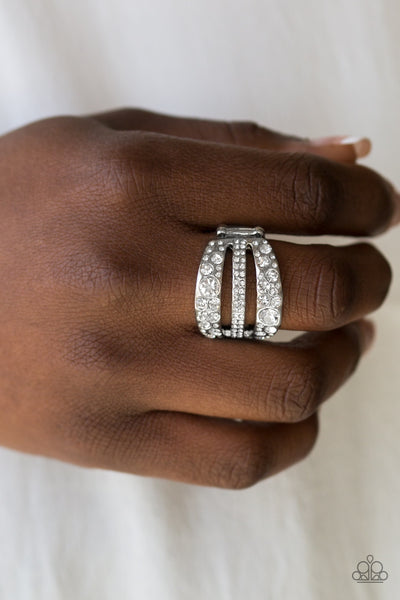 Stacks On Stacks On Stacks White Paparazzi Ring