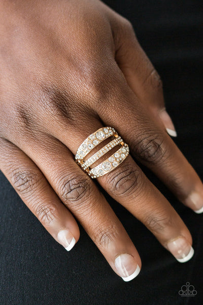 Stacks On Stacks On Stacks Gold Paparazzi Ring