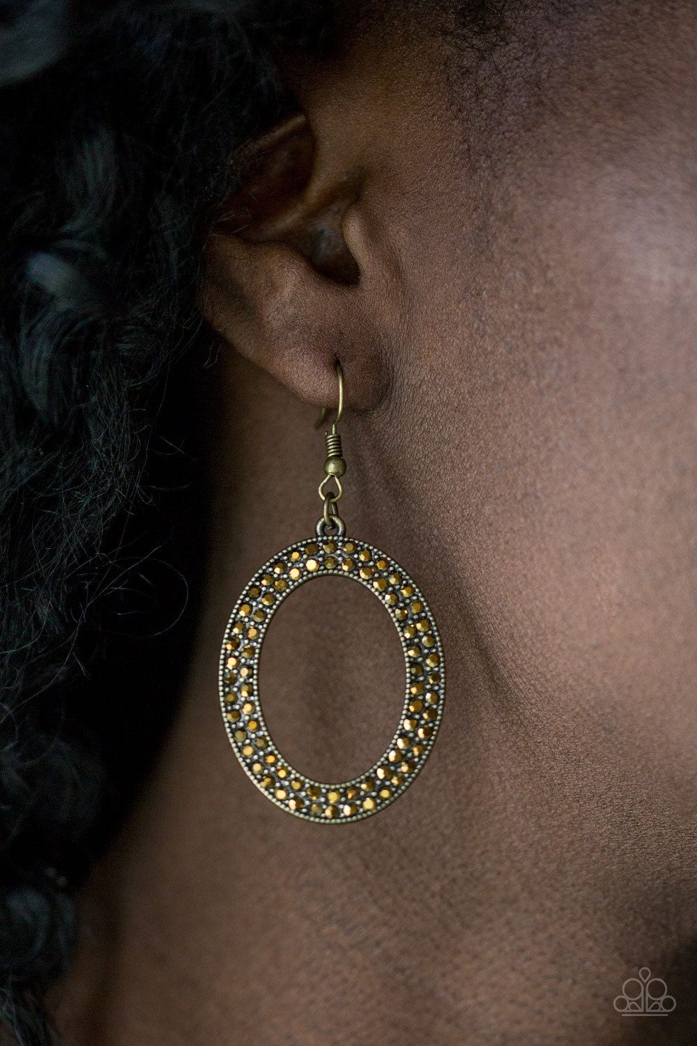 Go Down In Glitter Paparazzi Earrings-Brass