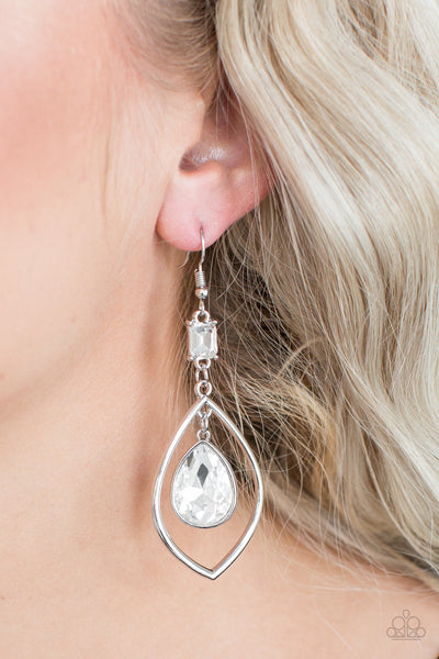 Priceless Paparazzi Earrings-White