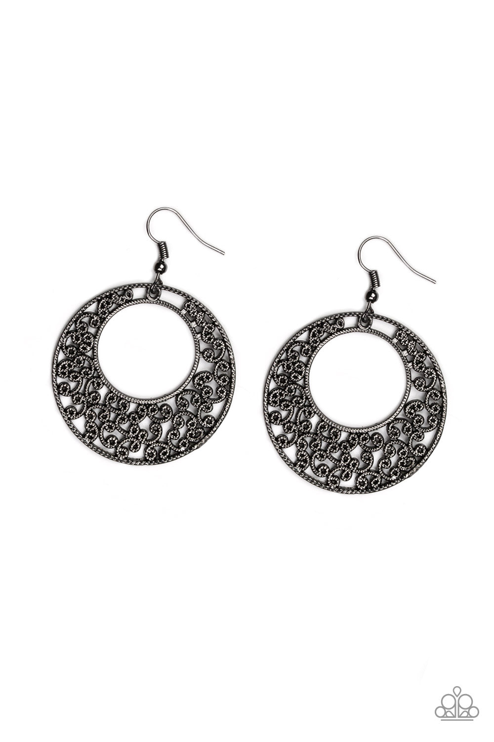 Wistfully Winchester Paparazzi Earrings-Black