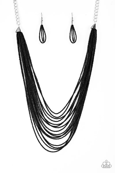 Peacefully Pacific Paparazzi Necklace-Black