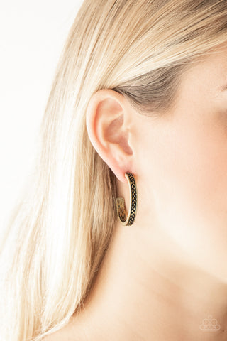 Rugged Retro Paparazzi Earrings-Brass