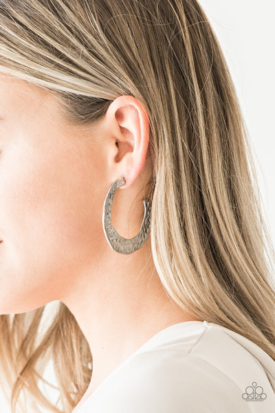 The HOOP Up Paparazzi Earrings-Silver