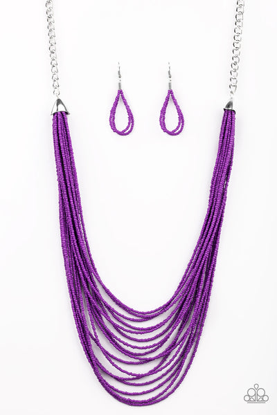 Peacefully Pacific Paparazzi Necklace-Purple