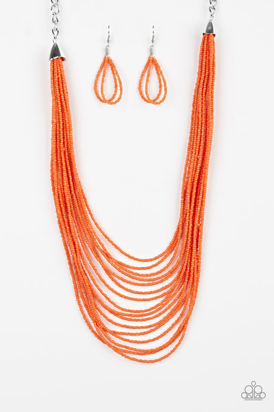 Peacefully Pacific Paparazzi Necklace-Orange