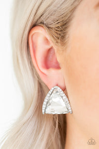 Exalted Elegance Paparazzi Earrings-White