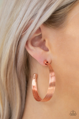 Live Wire Paparazzi Earrings-Copper