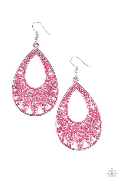 Flamingo Flamenco Paparazzi Earrings-Pink