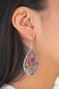 Gotta Get That Glow Paparazzi Earrings-Pink
