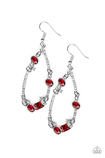 Quite The Collection Paparazzi Earrings-Red