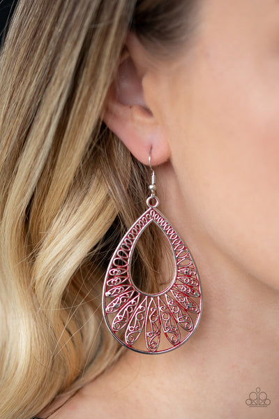 Flamingo Flamenco Paparazzi Earrings-Red