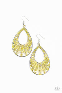 Flamingo Flamenco Paparazzi Earrings-Yellow