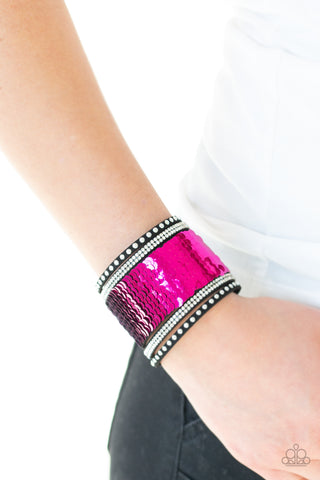 MERMAIDES Have More Fun Paparazzi Bracelet-Pink