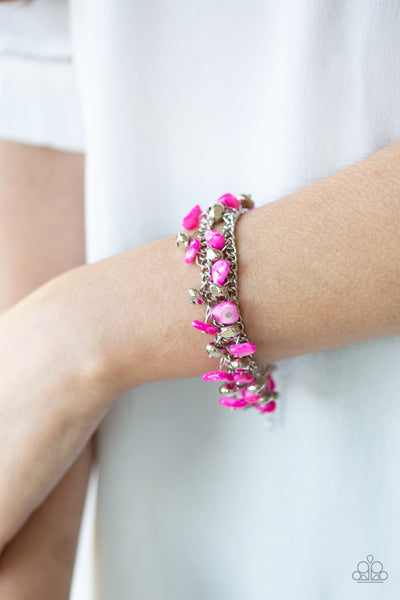 Plentiful Pebbles Paparazzi Bracelet-Pink