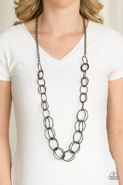 Elegantly Ensnared Paparazzi Necklace-Black