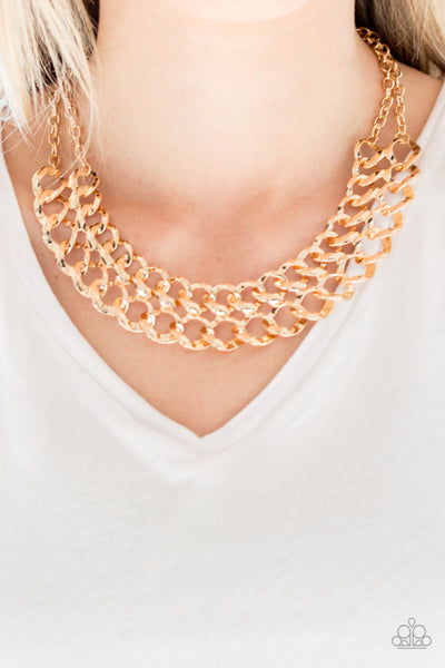 Street Meet And Greet Paparazzi Necklace-Gold