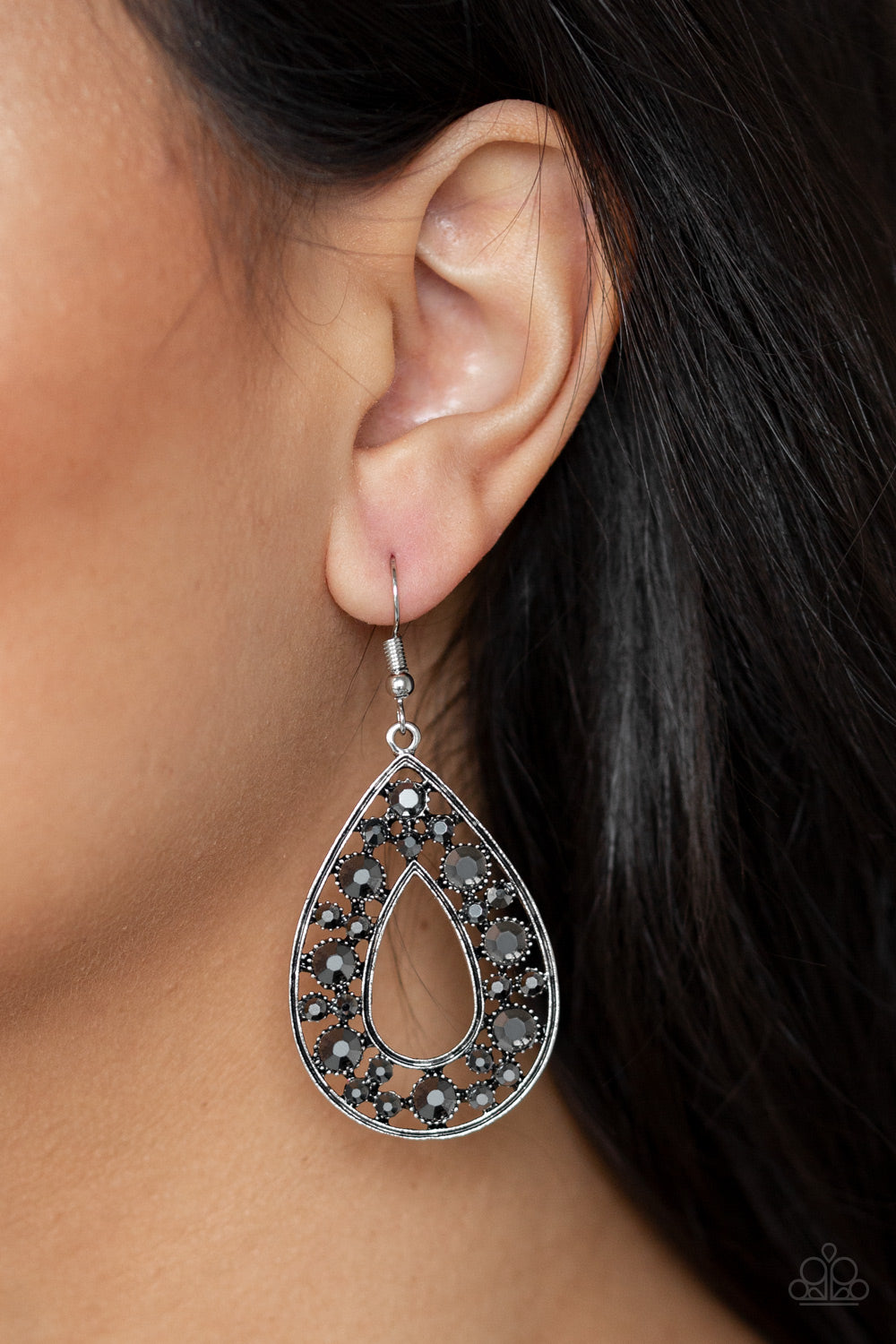 Midnight Magic Paparazzi Earrings-Silver