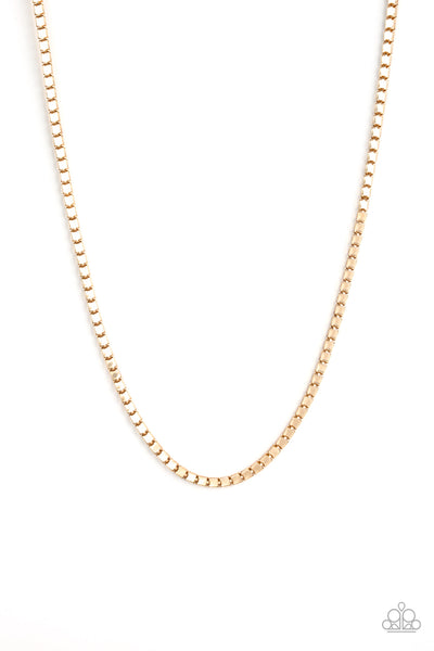 Boxed In Paparazzi Necklace-Gold