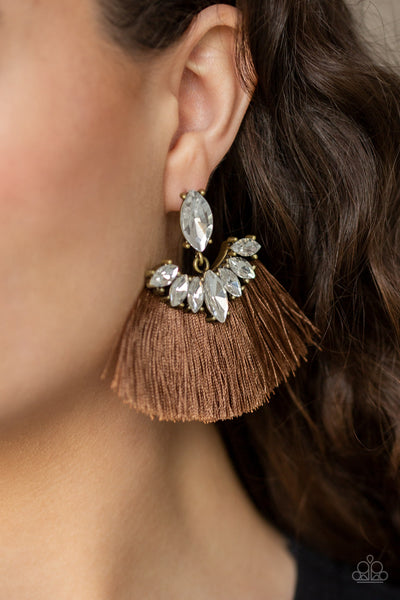 Formal Flair Paparazzi Earrings-Brown