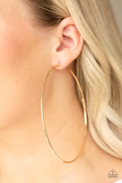 Extra Extra Paparazzi Earrings-Gold