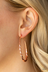 Twisted Edge Paparazzi Earrings-Copper
