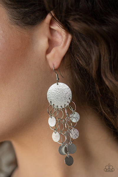 Turn On The BRIGHTS Paparazzi Earrings-Silver