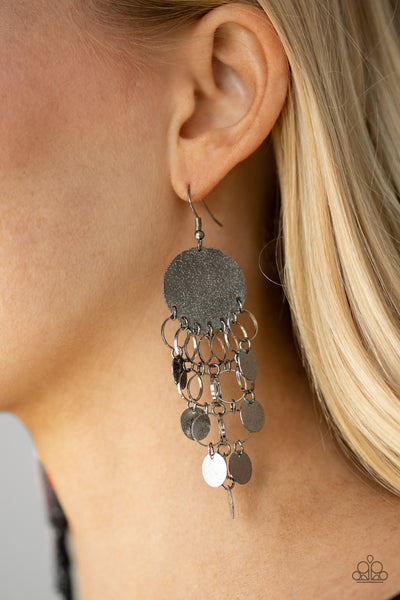 Turn On The BRIGHTS Paparazzi Earrings-Black