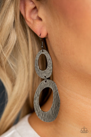 I've SHEEN It All Paparazzi Earrings-Black