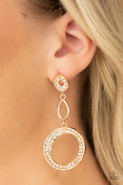 On The Glamour Scene Paparazzi Earrings-Gold