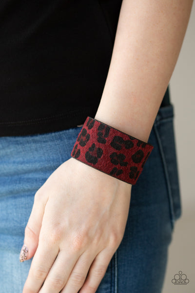 Cheetah Cabana Paparazzi Bracelet-Red