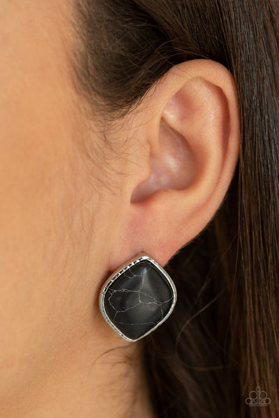 Marble Marvel Paparazzi Earrings-Black