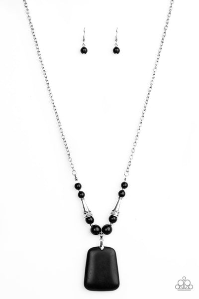Sandstone Oasis Paparazzi Necklace-Black
