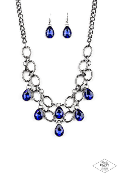 Show-Stopping Shimmer Paparazzi Necklace-Blue