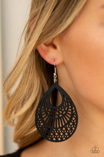 Shoulda Coulda WOODa Paparazzi Earrings-Black