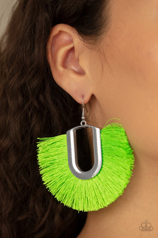 Tassel Tropicana Paparazzi Earrings-Green