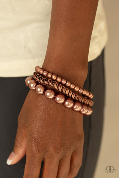 A Pearl-fect Ten Paparazzi Bracelet-Copper