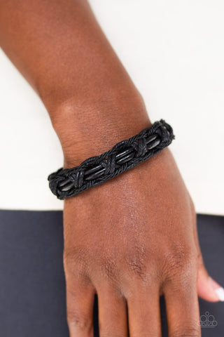 Don't WEAVE Me Hanging Paparazzi Bracelet-Black