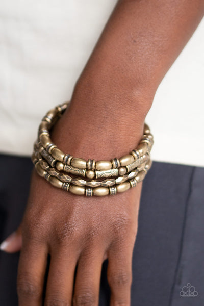Texture Throwdown Paparazzi Bracelet-Brass