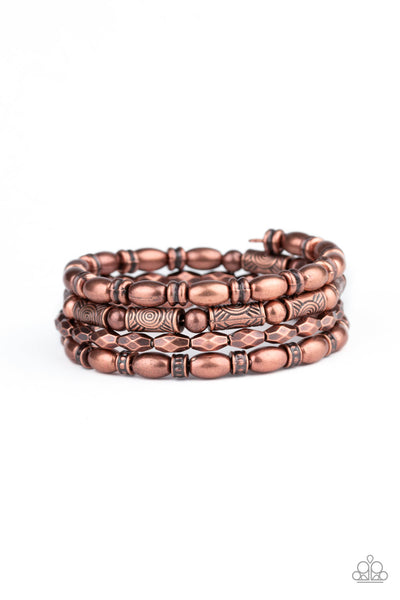 Texture Throwdown Paparazzi Bracelet-Copper