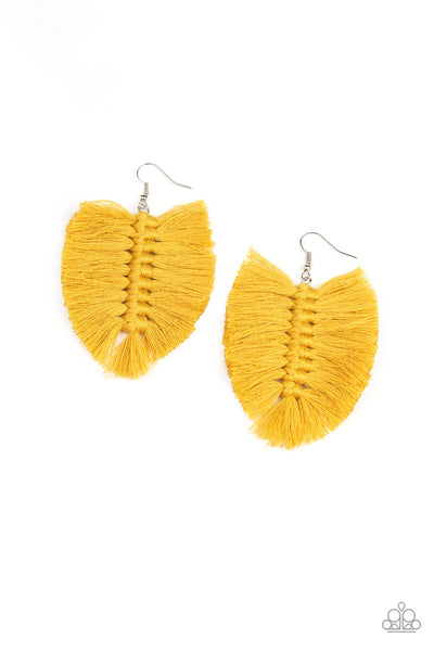 Knotted Native Paparazzi Earrings-Yellow